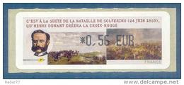 LISA (ATM)  *0,56 EUR  Impression Noire Sur Papier Croix-rouge - Henri Dunant - Bataille De Solférino - Croix-Rouge