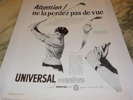 ANCIENNE PUBLICITE MONTRE UNIVERSAL ATTENTION 1951 - Autres