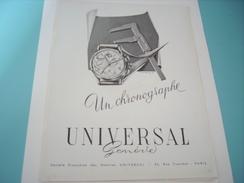 ANCIENNE PUBLICITE MONTRE CHRONOGRAPHE UNIVERSAL GENEVE 1949 - Autres