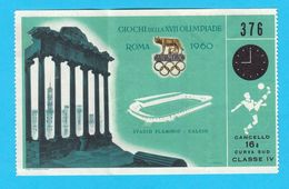 OLYMPIC GAMES ROME 1960. -  DENMARK : ARGENTINA Football Soccer Match Old Rare Ticket ** Futbol Danmark Roma '60. - Eintrittskarten