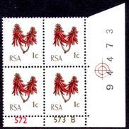 South Africa - 1972-74 Definitive 1c Control Block Pane B (**) # SG 314 - Blocs-feuillets