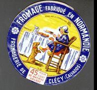 ETIQUETTE FROMAGE FABRIQUE EN NORMANDIE, 14 AB, FROMAGERIE DE CLECY - Fromage