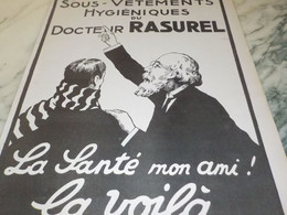 ANCIENNE PUBLICITE LES SOUS VETEMENT DU DOCTEUR RASUREL 1919 - Habits & Linge D'époque