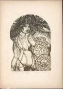 Ex Libris Kajo Jores Couronne Lion Femme Chevelure Luxuriante Nue Dénudée - Ex-libris