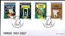 FDC P.1587 VII -HERGE 1907/2007 -Bruxelles Le 19/05/2007 - Bandes Dessinées