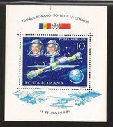 E) 1981 ROMANIA, ROMANIAN-RUSSIAN SPACE COOPERATION, SOVIETIC IN COSMOS, COSMONAUTS, SPACECRAFT, S/S, MNH - 1948-.... Republics