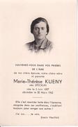 Partezettel Parte - Marie-Thérès Kueny Née Specklin- 1962 - 7*12cm (29441) - Todesanzeige