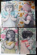 Lot 4x Litho DESSIN Illustrateur ESW SERIE 112 SCHWEIGER ? PORTRAIT Fille Fillette MAINS JOINTES EN PRIERE DECOR FLEURS - Illustrateurs & Photographes