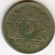 Turquie Turkey 5 Kurus 1943 KM 862 - Turquia