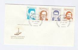 1988 NICARAGUA FDC Stamps  MARTYRS Of THE REVOLUTION Cover - Nicaragua
