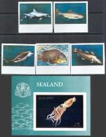 2576 ✅ Fauna Animals Marine Life Fishes Dolphins 1970 Sealand 5v+S/s MNH ** Imperf Imp - Mundo Aquatico