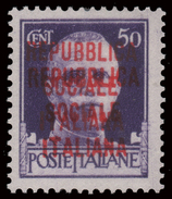 Italia: R.S.I. - Imperiale Del 1929 Soprastampato (Fascetto) - 50 C. Violetto / VARIETA´ - 1944 - 4. 1944-45 Repubblica Sociale