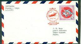 RUSSIE  1er Vol 1973 -4-1. MOSCOU / TOKIO  Lufthansa (tp Escrime ) - Lettres & Documents