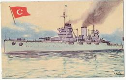 """Marine De Guerre Croiseur """" Yavuz """" Pub Cuba Chocolat La Estrella Drapeau Turc Format 13/8,5 Cms - Türkei"""
