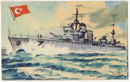 """Marine De Guerre Destroyer """" Zafer """" Pub Cuba Chocolat La Estrella Drapeau Turc Format 13/8,5 Cms - Türkei"""
