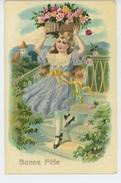 """ENFANTS - LITTLE GIRL - MAEDCHEN - Jolie Carte Fantaisie Fillette Avec Fleurs """"Bonne Fête """" - Dessins D'enfants"""