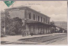 AMPLEPUIS : LA GARE - CHEMINOTS - ECRITE EN 1909 - 2 SCANS - - Amplepuis