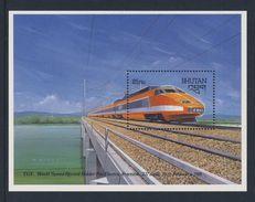 "Bhutan 1988 B160 = Mi 1071 ** French ""TGV"" Express Train - World Speed Record Holder Electric Traction - Bhutan"