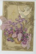 FLEURS - Jolie Carte Fantaisie CELLULOID Avec Hirondelle Et Panier De Violettes - Flowers