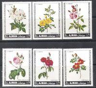 0765 ✅ Art Painting Flora Flowers Plants Roses P.J. Redoute 1969 Ajman 6v Set MNH ** 4,5ME - Rosas