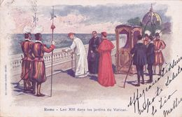 ITALIA - VATICAN, LEO XIII DANS LES JARDINS DU VATICAN, LITHO 1900 - Vaticano