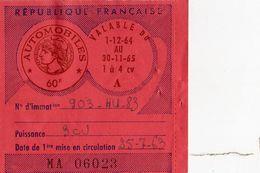 VIGNETTE AUTOMOBILE  3CV   RF -DEC. 1964 A 1965  TOULON VAR - Old Paper