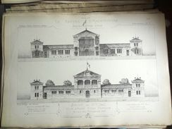 LE RECUEIL D'ARCHITECTURE 1874/77 -  # 107- SALON DE 1873 (PARIS) VILLE D'AGEN ECOLE PRIMAIRE PROJET PAR, Mr AURENQUE Ar - Architecture