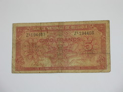 5 Francs - VYF FRANK - Banque Nationale De Belgique - 1943  **** EN ACHAT IMMEDIAT **** - [ 2] 1831-... : Regno Del Belgio