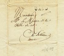 372/25 - Lettre Précurseur Sans Contenu Griffe EECLOO Via GAND ( Herlant 12) Vers LOKEREN - Période Française - 1794-1814 (Période Française)