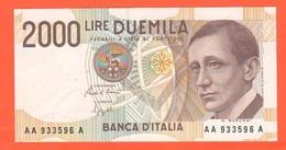 Italia 2000 Lire Marconi Serie AA933596A Repubblica Italiana - [ 2] 1946-… : Républic