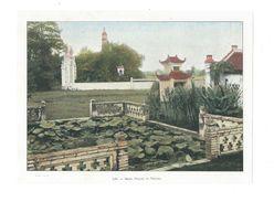 Indochine Hanoï Pagode Du Pinceau 1900's  Photo Aquarellée Grav.Imp.par Gillot 17 X 23 Cm Dos Blanc TB - Vecchi Documenti