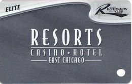 Resorts Casino - East Chicago, IN USA - Blank Slot Card - 6 Logos Across Bottom Reverse - Casino Cards