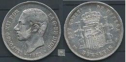 ESPAGNA SPANIEN SPAIN ESPAÑA 1884 STARS ESTRELLAS 18-84 MSM ALFONSO XII 5 PESETAS SILVER MBC - Colecciones