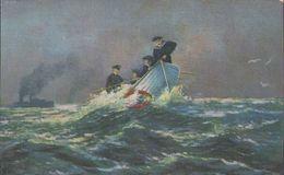 Matrosen Im Rettungsboot, Mann über Bord, Feldpostkarte, Helgoland, Marine, Deutsches Kaiserreich, Militär - Weltkrieg 1914-18