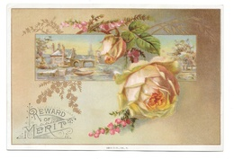 Antique Victorian Reward Of Merit Card Pale Pink Rose With Gold Leaves Gibson Co 4X6 - Trade Cards