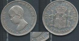 ESPAGNA SPANIEN SPAIN ESPAÑA 1891 ESTRELLAS 18-91 PGM ALFONSO XIII 5 PESETAS SILVER PLATA - Colecciones