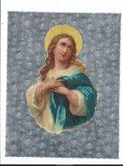 IMAGE PIEUSE 17,5 X 14 Cm..CHROMO La SAINTE VIERGE.. Fond Argenté - Imágenes Religiosas