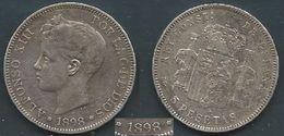 ESPAGNA SPANIEN SPAIN ESPAÑA 1898 ALFONSO XIII 5 PESETAS STARS ESTRELLAS 18-98 SGA SILVER - Colecciones