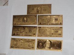 LOTTO SET BANCONOTE BANKNOTE DOLLARI GOLD DOLLAR IN FOGLIA D'ORO 24 K FDS. - Banconote