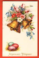 EAI-11  Joyeuses Pâques, Cloches Fleuries Et Oeufs.. Circulé En 1954, Timbre Manque - Pâques