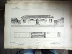 LE RECUEIL D'ARCHITECTURE 1874/77 -  # 162- SALLE D'ASILE DE LA PAROISSE St CHARLES À LYON (RHONE) ,  Mr ARGUILLIERE Arc - Architectuur