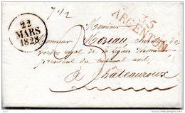 Lettre 35 ARGENTON  (rouge) 1828, Pour Châteauroux 2 Scans - 1801-1848: Voorlopers XIX