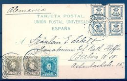 1908 , CANARIAS - SANTA CRUZ DE TENERIFE , PICO DE TEIDE DESDE MATANZA  , T.P. CIRCULADA A BERLIN - 1889-1931 Reino: Alfonso XIII
