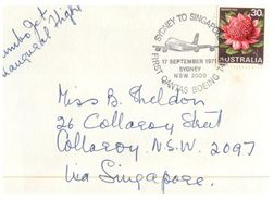 (666) Australia FDC Cover - 1971 - Sydney Singapore Jumbo Jet Fitst Flight Special Cover (+ Extra Postmark Singapore) - Premiers Vols