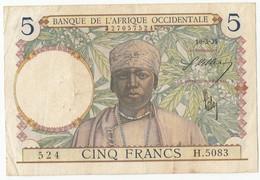 5 Francs, Banque De L'Afrique Occidentale, 1938, Pick 21-2, H.5083, 10/03/1938, TB - Billets