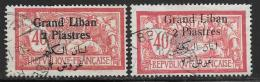 Lebanon, Scott #33 And 33a Used France Stamps Surcharged, 1924 - Liban