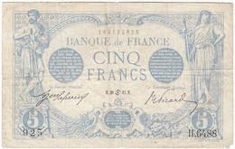 5 Francs, Bleu Type 1905, P.70, F2/28, H.6488, 30/06/1915, B - 1871-1952 Circulated During XXth