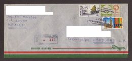 Mexico, Cover Sent From Cuernavaca-Tegucigalpa Stamps Guanajuato (Bell), Coahuila (Church), Mexico Exports Cotton, 1995 - Mexico