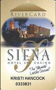 Siena Casino - Reno, NV USA - Slot Card - (I) Over Mag Stripe - Casino Cards