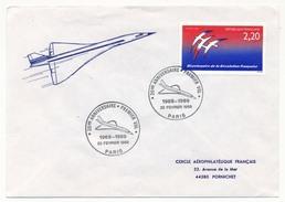 FRANCE - Enveloppe - 20ème Anniversaire Premier Vol Concorde - Février 1969 - Paris - Concorde